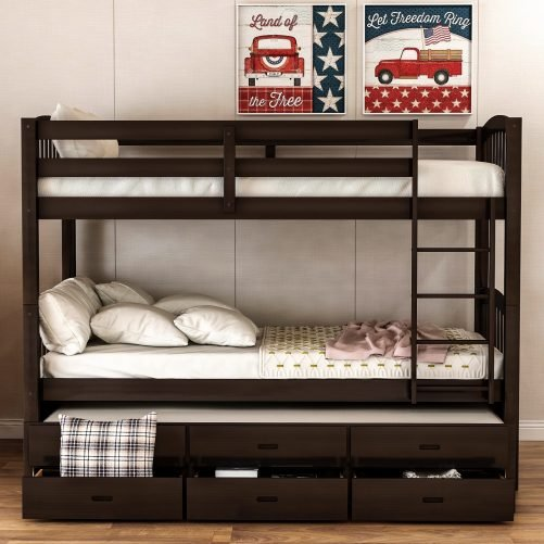 Twin over twin wood bunk bed with trundle and drawers, espresso 2
