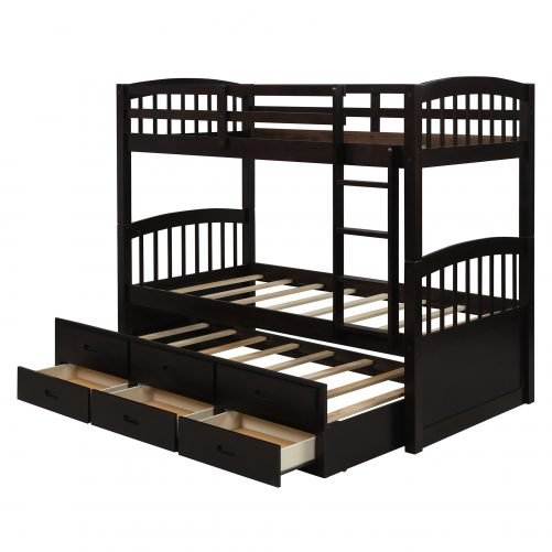 Twin over twin wood bunk bed with trundle and drawers, espresso 9