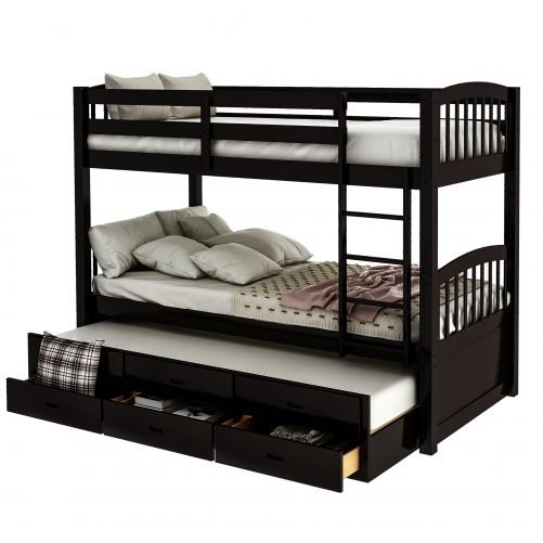 Twin over twin wood bunk bed with trundle and drawers, espresso 5