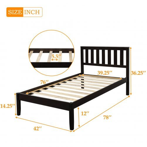Wood Platform Bed with Headboard/Wood Slat Support,Twin 5