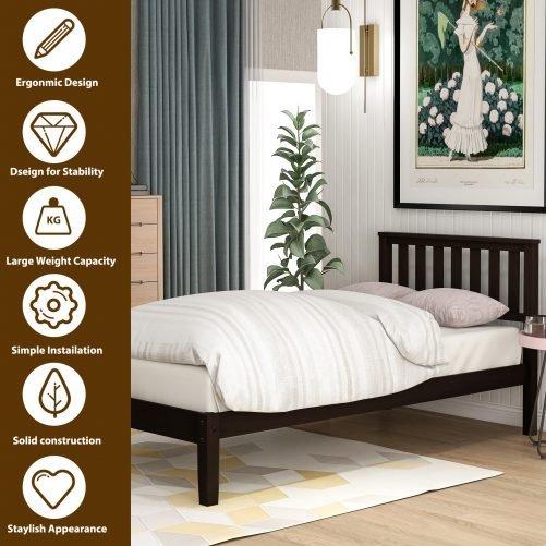 Wood Platform Bed with Headboard/Wood Slat Support,Twin 10