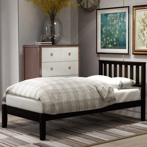 Wood Platform Bed with Headboard/Wood Slat Support,Twin 1