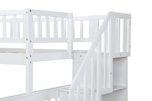 Twin over Full Stairway Bunk Bed with Storage 6