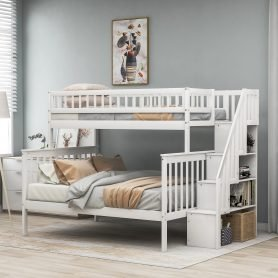 Twin over Full Stairway Bunk Bed with Storage 17