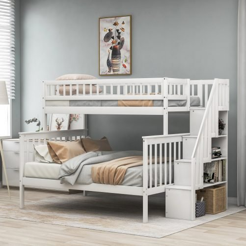 Twin over Full Stairway Bunk Bed with Storage 1