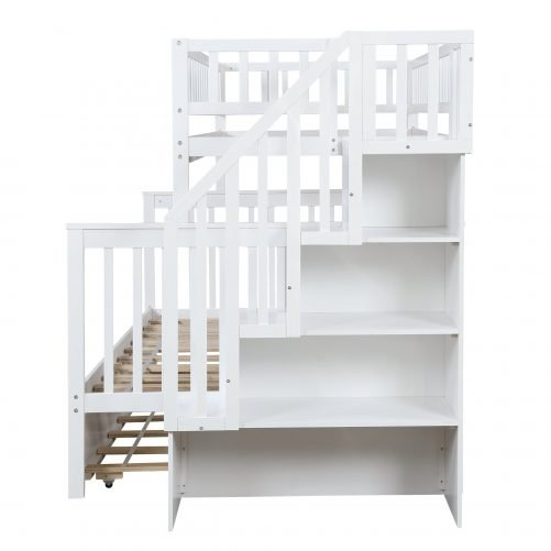 Twin over Full Stairway Bunk Bed with Storage 8