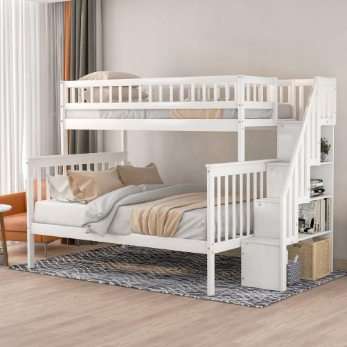 Twin over Full Stairway Bunk Bed with Storage 4