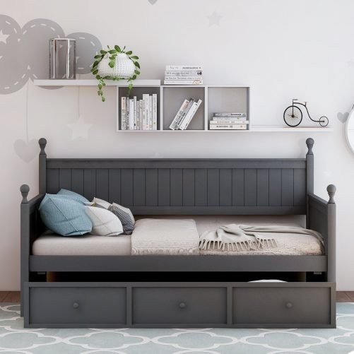 Wood Daybed with Three Drawers ,Twin Size 4