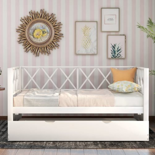 Wood Daybed with Trundle,Twin Size 2