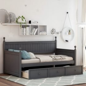 Wood Daybed with Three Drawers ,Twin Size 11