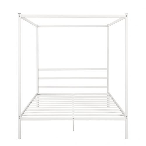 Metal Framed Canopy Platform Bed with Built-in Headboard 10