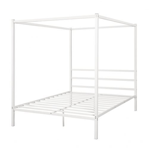 Metal Framed Canopy Platform Bed with Built-in Headboard 14