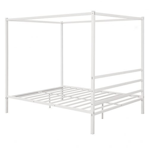 Metal Framed Canopy Platform Bed with Built-in Headboard 12