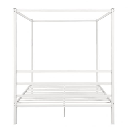 Metal Framed Canopy Platform Bed with Built-in Headboard 16