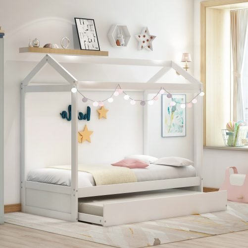 House Bed with Trundle, Can Be Decorated 12