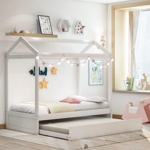House Bed with Trundle, Can Be Decorated 14