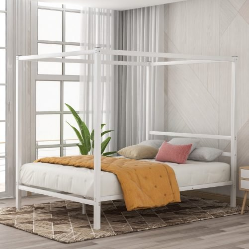 Metal Framed Canopy Platform Bed with Built-in Headboard 6