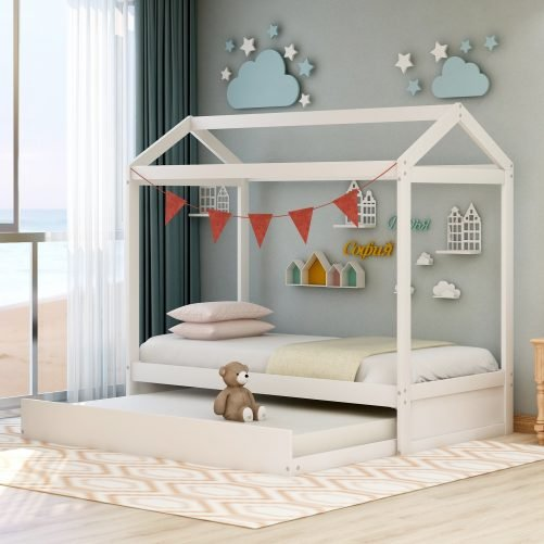 House Bed with Trundle, Can Be Decorated 2