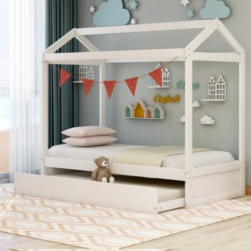 House Bed with Trundle, Can Be Decorated 4
