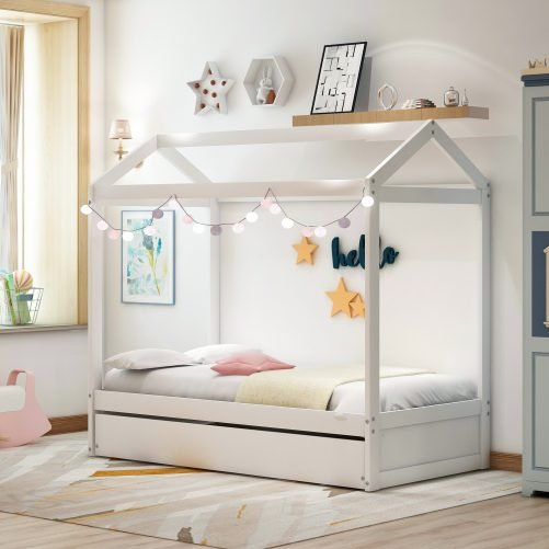 House Bed with Trundle, Can Be Decorated 10