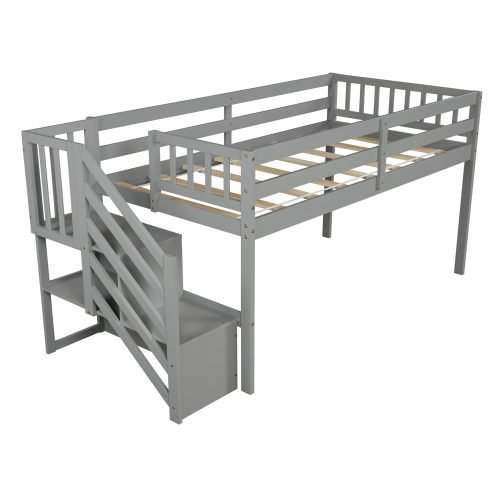 Floor Loft Bed, Ladder with Storage, Twin Size 7
