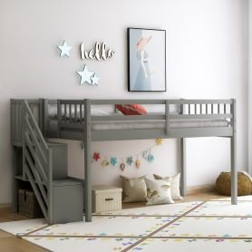 Floor Loft Bed, Ladder with Storage, Twin Size 2