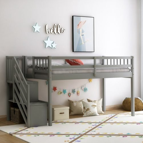 Floor Loft Bed, Ladder with Storage, Twin Size 1