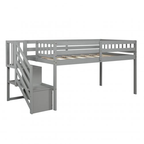 Floor Loft Bed, Ladder with Storage, Twin Size 8