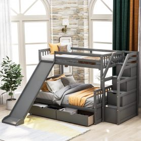 Twin over Full Bunk Bed with Drawers,Storage and Slide 17