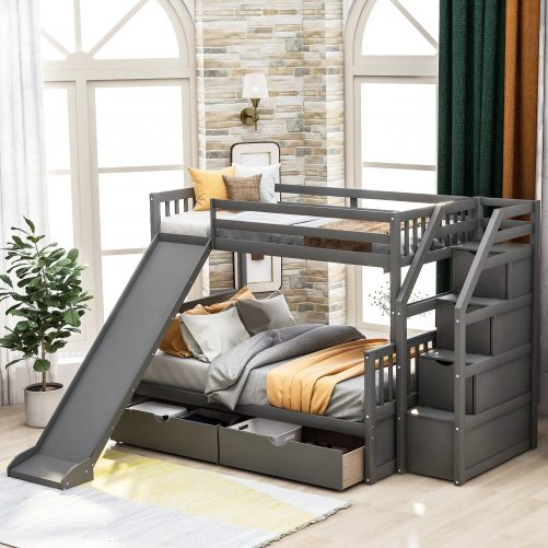 Twin over Full Bunk Bed with Drawers,Storage and Slide 1