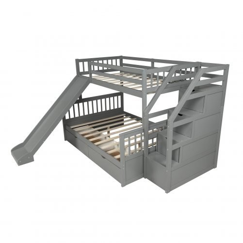 Twin over Full Bunk Bed with Drawers,Storage and Slide 5