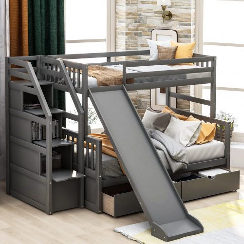 Twin over Full Bunk Bed with Drawers,Storage and Slide 2