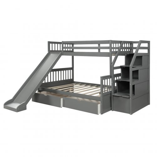 Twin over Full Bunk Bed with Drawers,Storage and Slide 7