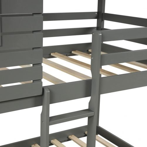 Wood Twin Over Twin Bunk/Loft Bed with Roof 4
