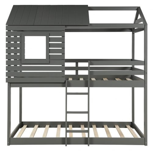 Wood Twin Over Twin Bunk/Loft Bed with Roof 6