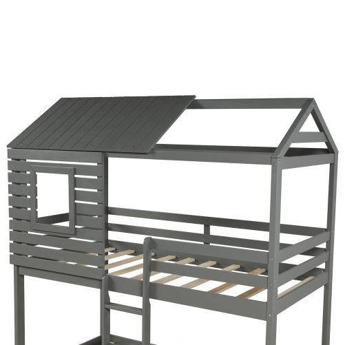 Wood Twin Over Twin Bunk/Loft Bed with Roof 10