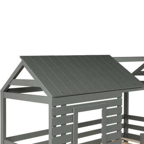Wood Twin Over Twin Bunk/Loft Bed with Roof 16