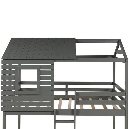 Wood Twin Over Twin Bunk/Loft Bed with Roof 7