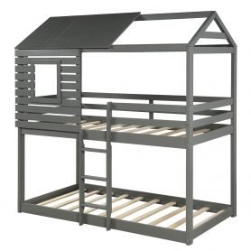 Wood Twin Over Twin Bunk/Loft Bed with Roof 3