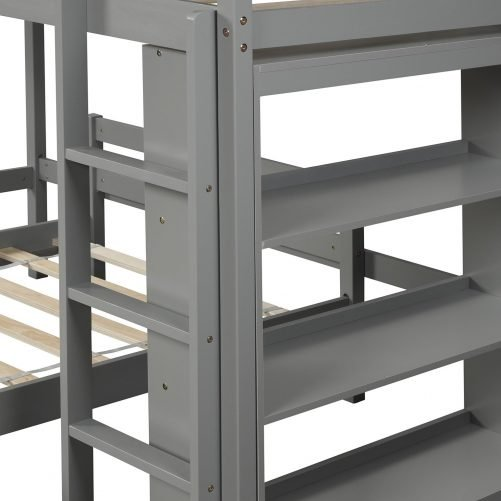 Twin over Twin Bed with Shelves 7