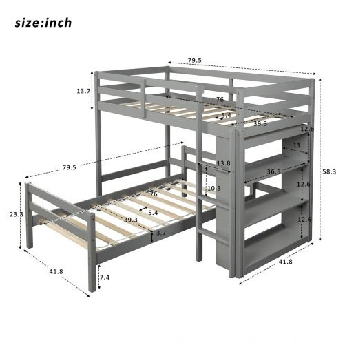 Twin over Twin Bed with Shelves 9