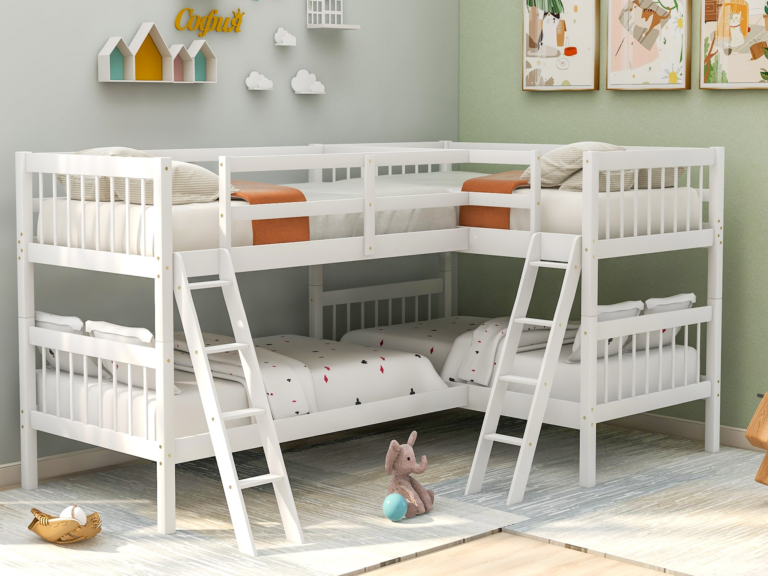 L-Shaped Bunk Bed Twin Size