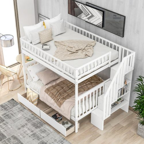 Full over full bunk bed with two drawers and storage 3