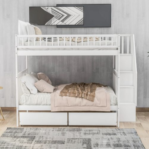 Full over full bunk bed with two drawers and storage 2