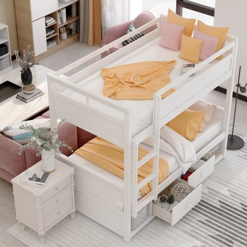 Twin over twin bunk bed, with two drawers and two storage, white 3