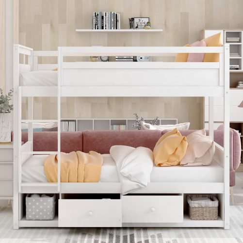 Twin over twin bunk bed, with two drawers and two storage, white 2
