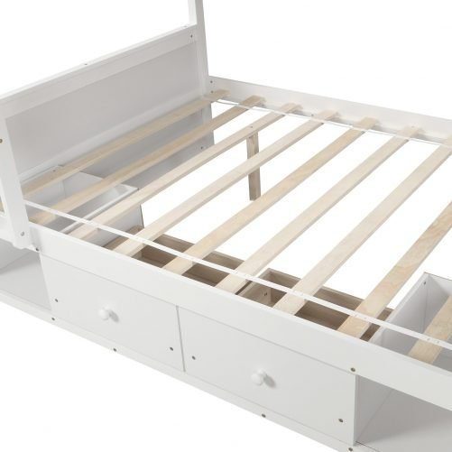 Twin over twin bunk bed, with two drawers and two storage, white 9