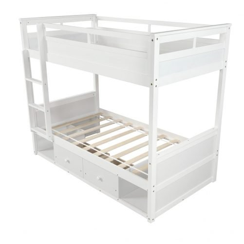 Twin over twin bunk bed, with two drawers and two storage, white 5