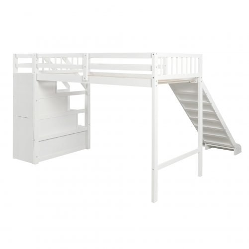 Twin size loft bed with storage and slide, white 8
