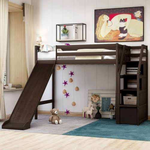 Twin size loft bed with storage and slide, white 11